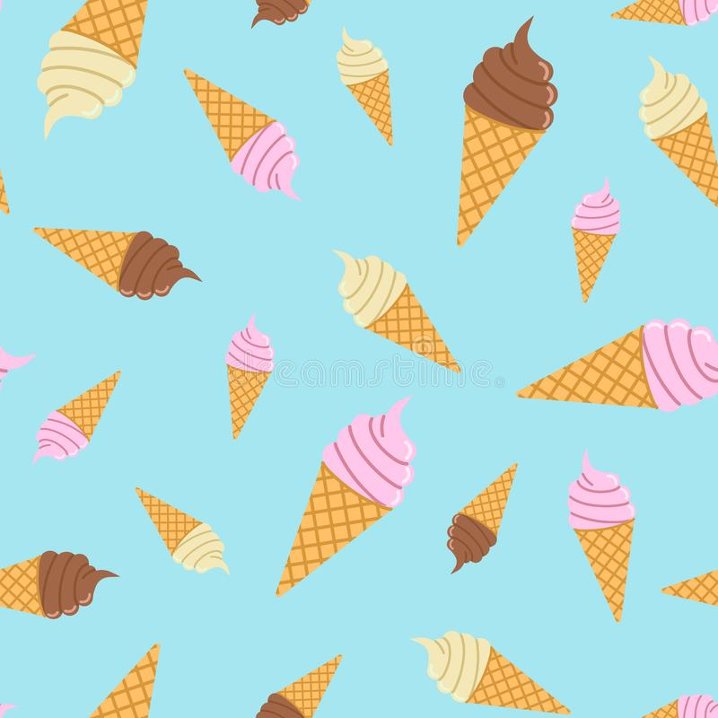 Seamless pattern of multicolored ice cream in a waffle cone vector illustration