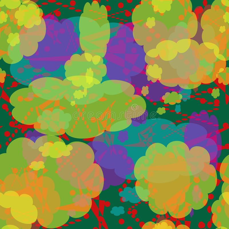 Seamless pattern of multicolored spots, lines and points. Yellow, red, turquoise, lilac abstract elements. vector illustration