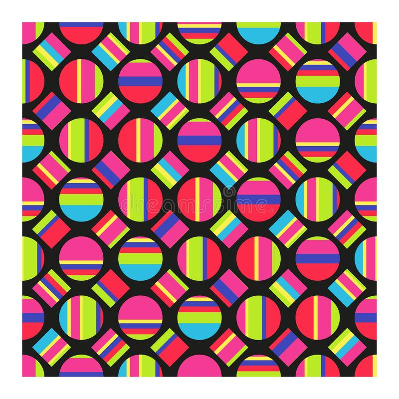 Seamless pattern of multicolored striped circles and squares.ÑŽ stock illustration