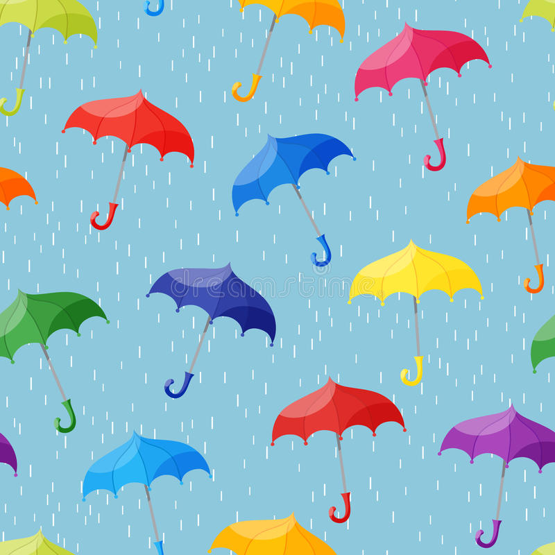 Seamless pattern with multicolored umbrellas on light blue background with rain. Vector Seamless pattern with multicolored umbrellas on light blue background vector illustration