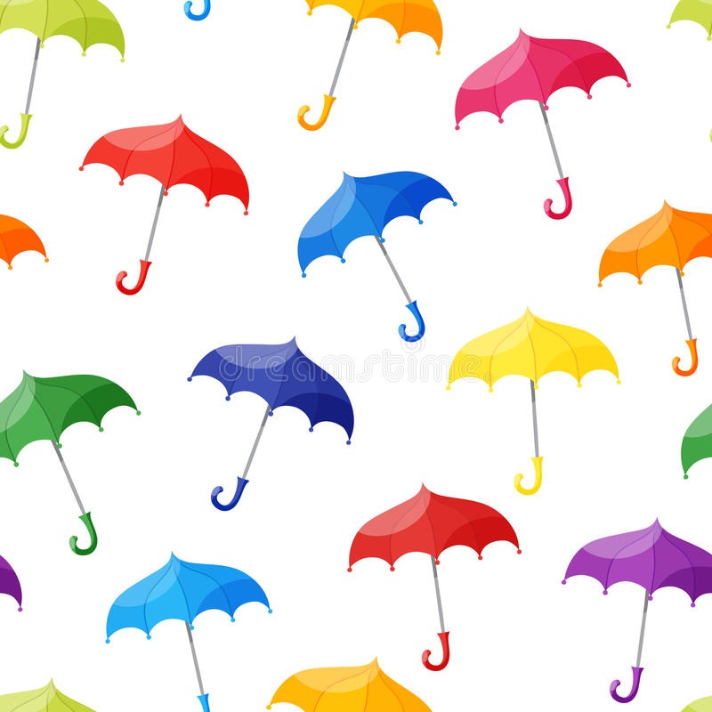 Seamless pattern with multicolored umbrellas on white background. Vector Seamless pattern with multicolored umbrellas on white background vector illustration