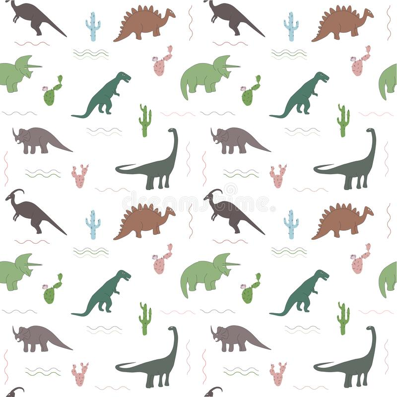 Seamless pattern with multicolors dinosaurs and bright leaf on the white background. Seamless pattern with ohistoric dinosaurs on the white background. Colorful vector illustration