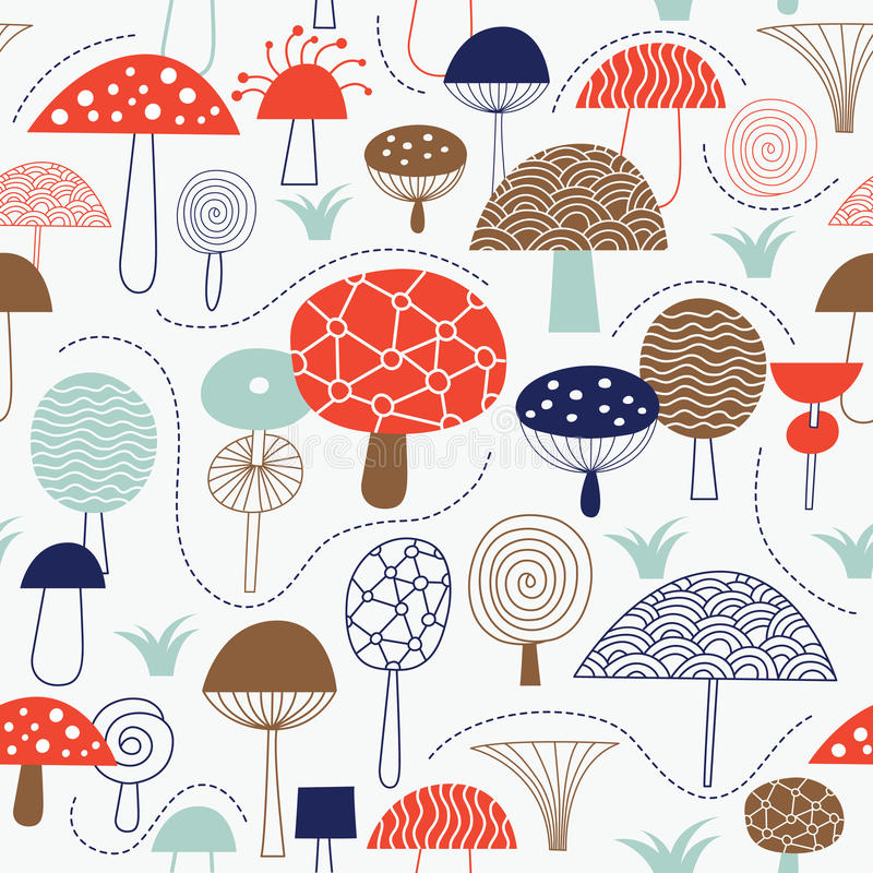Download Seamless Pattern With Mushrooms Stock Vector - Image: 23291764