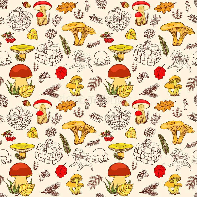 Seamless pattern of mushrooms in colour stock photos