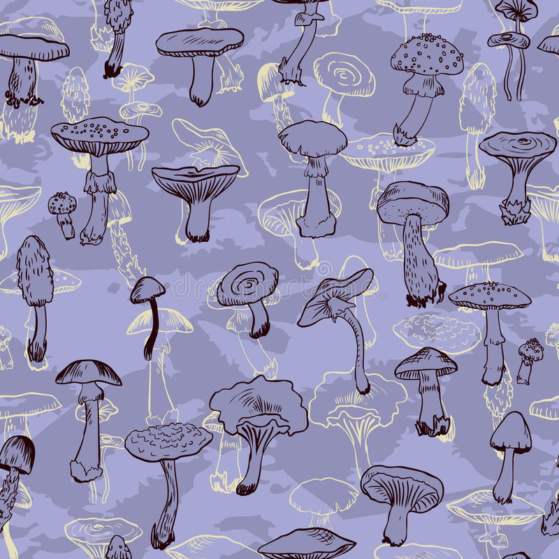 Seamless pattern with mushrooms. Vector illustration royalty free illustration