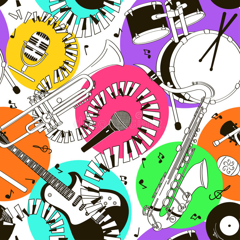 Seamless pattern of musical instruments vector illustration