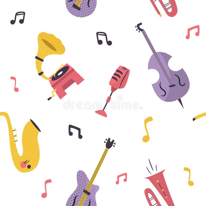 Seamless pattern with musical instruments, devices. Seamless pattern with musical instruments saxophone, guitar, contrabass, trumpet stock illustration