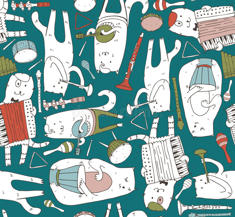 Seamless pattern with musician cats and music instruments in bright colors. Cats are playing on drum, accordion, tube, guitar. Vector handdrawn illustration vector illustration