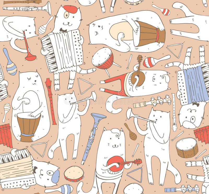 Seamless pattern with musician cats and music instruments in pastel colors. Cats are playing on drum, accordion, tube, guitar. royalty free illustration