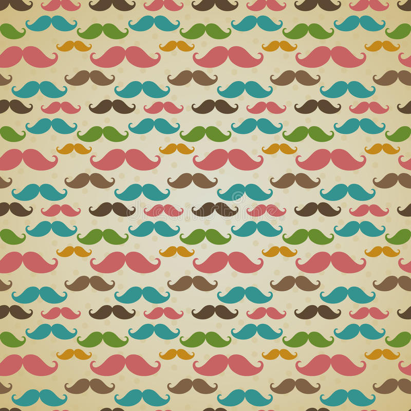 Seamless pattern with mustache vector illustration