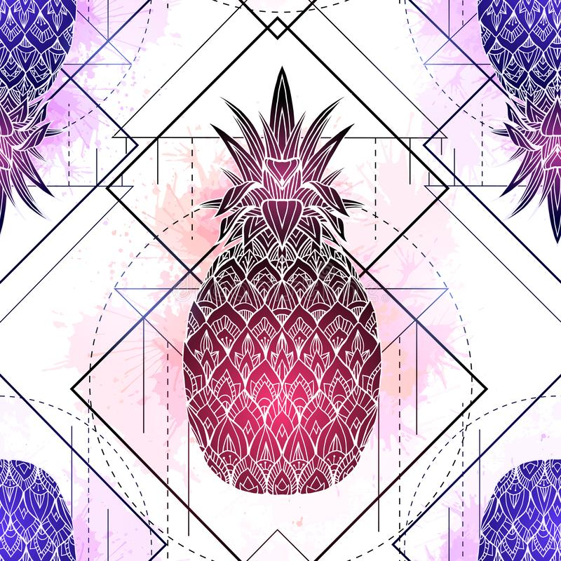 Seamless pattern with mystical illustration of pineapples with a contour drawing and pink watercolor splashes. Texture with magic stock illustration