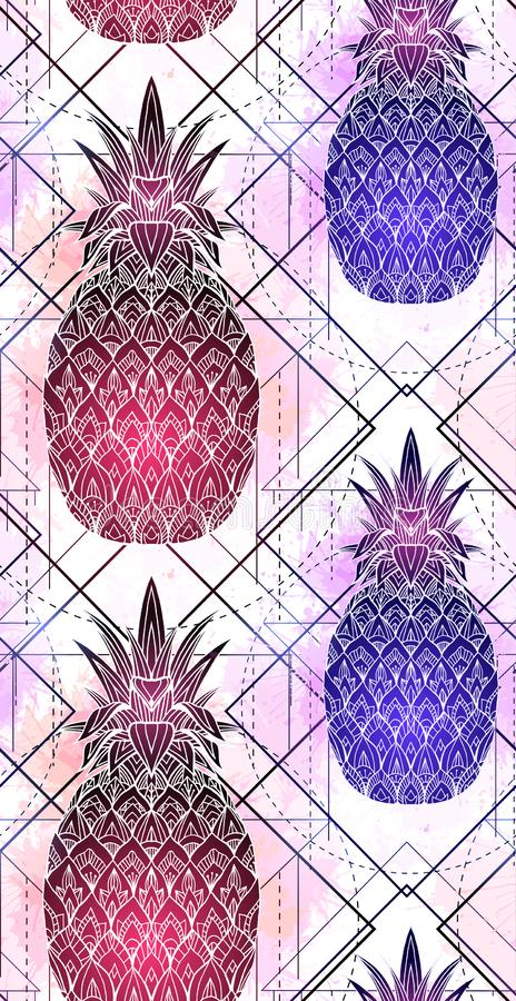 Seamless pattern with mystical pineapples with a contour drawing and pink watercolor splashes in a row. vector illustration