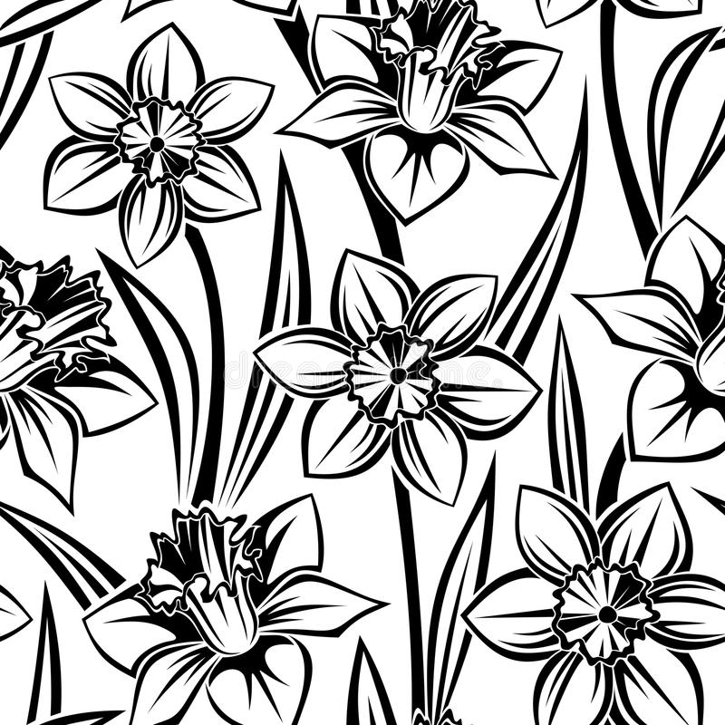 Black Flower Pattern Silhouette Stock Illustration: Vector Seamless Pattern With Narcissus. Royalty Free Stock