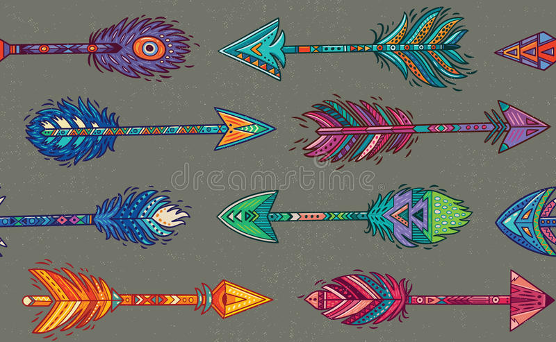 Seamless pattern with Native American Indian arrows in ethnic style stock illustration