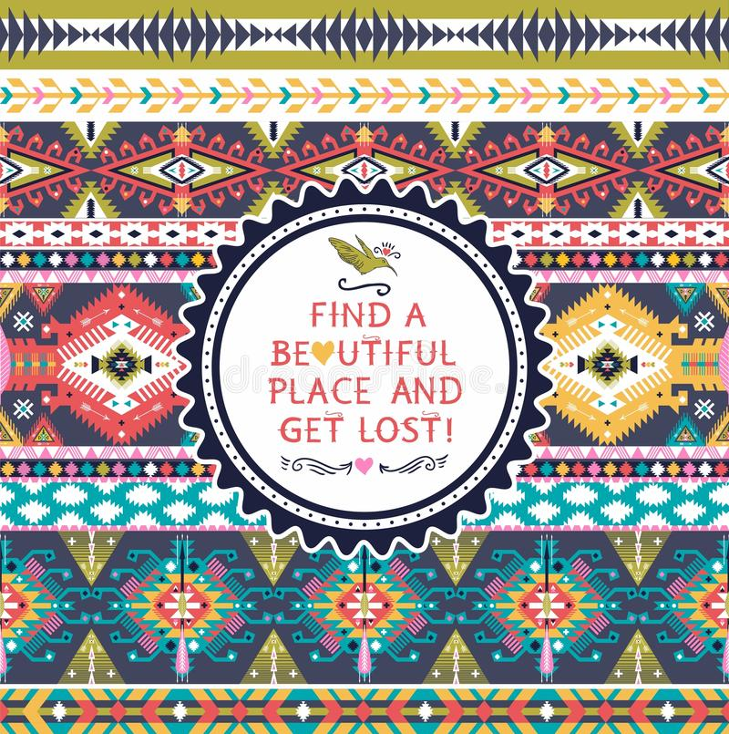 Seamless pattern in native american style stock illustration