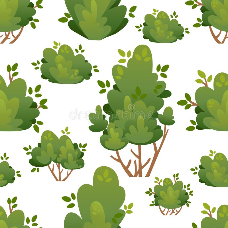 Seamless pattern of natural bushes and garden trees for park cottage and yard vector illustration with place for your text isolate stock photos