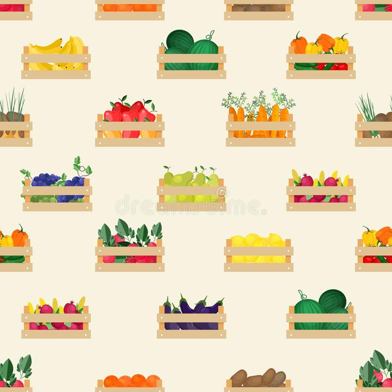 Seamless pattern with natural organic fruits and vegetables in wooden boxes on white background. Backdrop with food. Crops collected in crates. Flat cartoon vector illustration