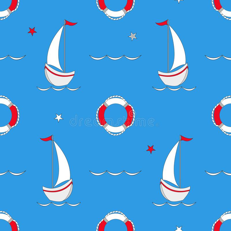 Seamless pattern with nautical design elements. Cute cartoon sea objects. Vector illustration. royalty free illustration