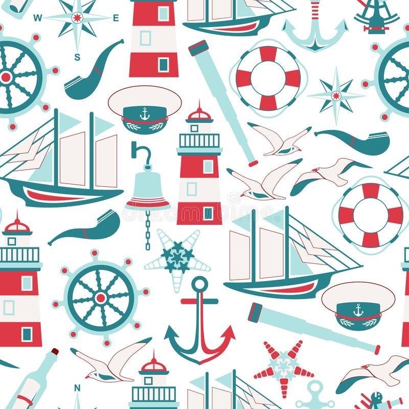 Seamless pattern of nautical design elements in flat style vector illustration