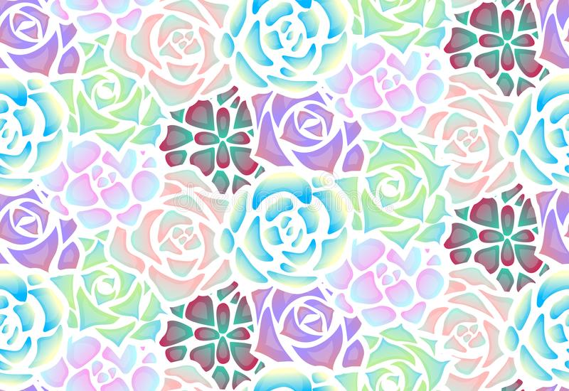 Seamless pattern of neon succulents with patches of light . View from above. Vector texture for creating fabrics, wallpaper and your design vector illustration