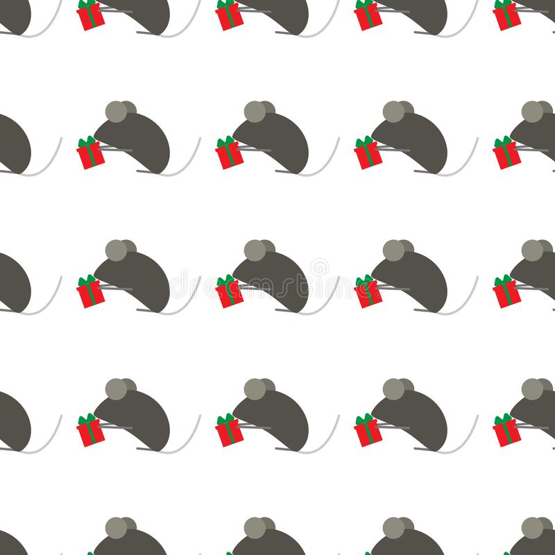 Seamless pattern for new year. Chinese symbol of New Year s rat or mouse. Cute mice give gifts. Suitable for background stock illustration