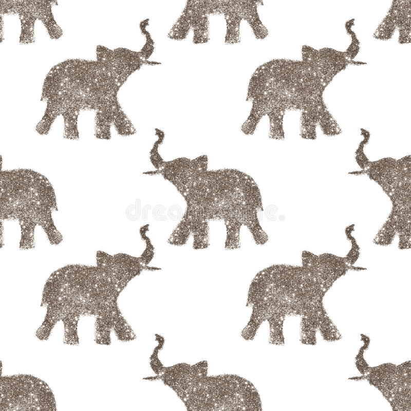 Seamless pattern with nice abstract elephants of glitter. Their trunks raised up - good luck symbol. Seamless pattern with nice abstract elephants of glitter royalty free stock photography