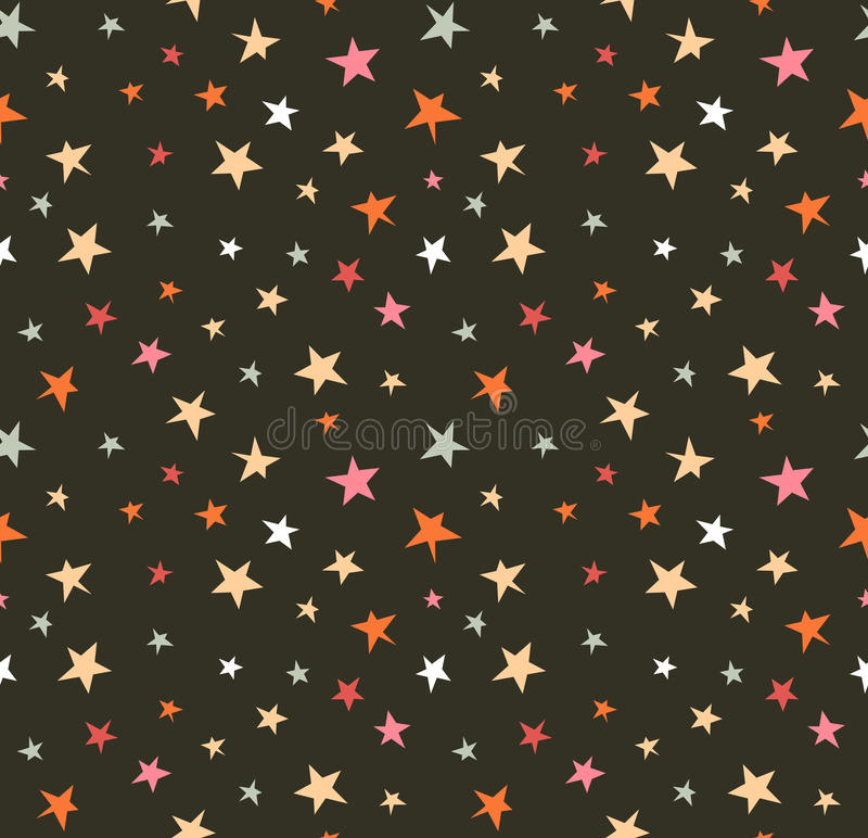 Seamless pattern with night sky and colorful hand drawn stars. stock illustration