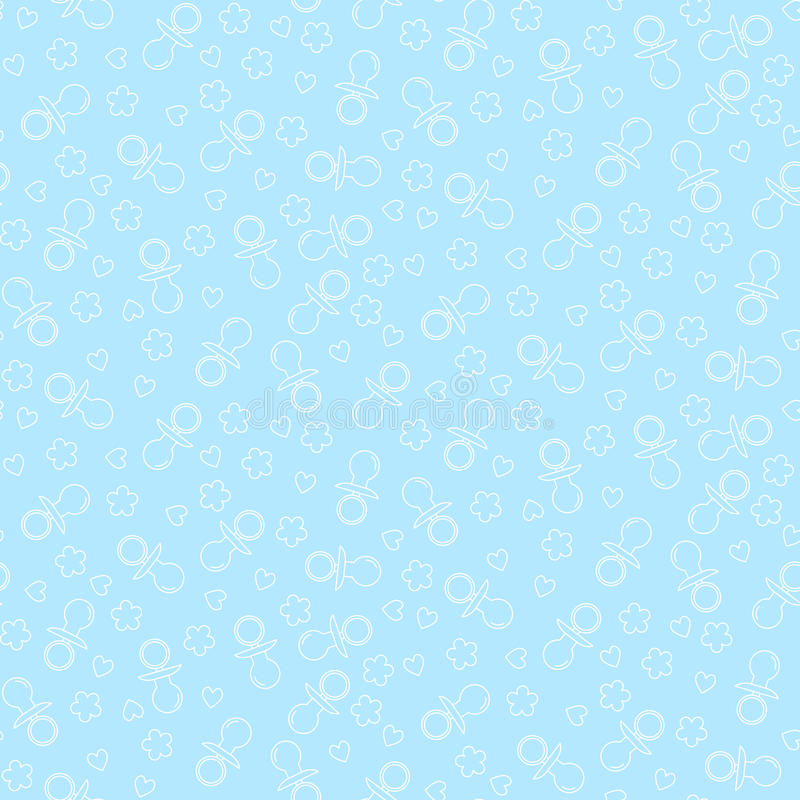 Seamless pattern with nipples, hearts and flowers. Vector illustration stock illustration
