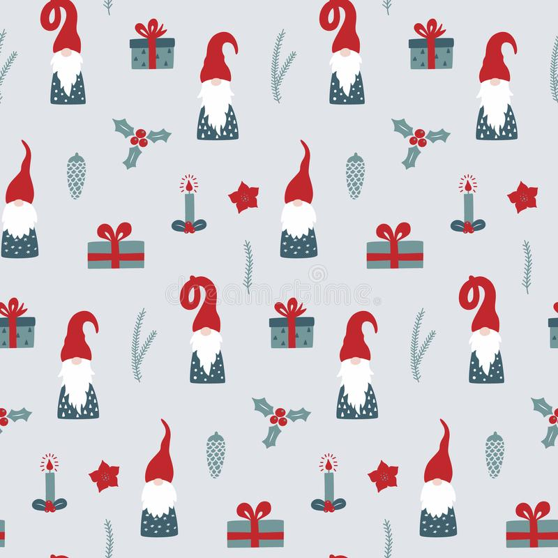 Seamless pattern with Nordic Gnomes and christmas festive decorations. Hand drawn scandinavian print. Vector wallpaper for winter season royalty free illustration
