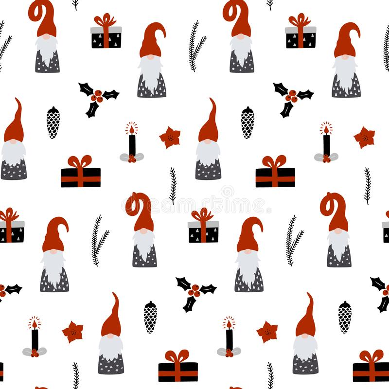 Seamless pattern with Nordic Gnomes and christmas festive decorations. Hand drawn scandinavian print. Winter holidays vector wallpaper stock illustration