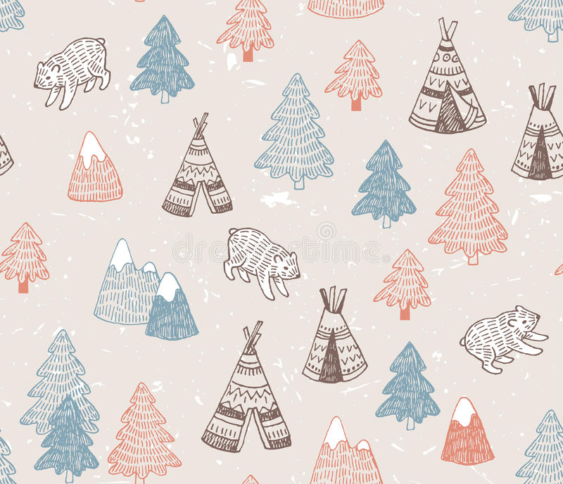 Seamless pattern with North American Indian tipi homes with tribal ornament, elements of forest and mountains, bear. royalty free illustration