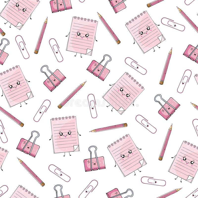 Seamless pattern of notebooks and stationery in the style of Kawai stock illustration