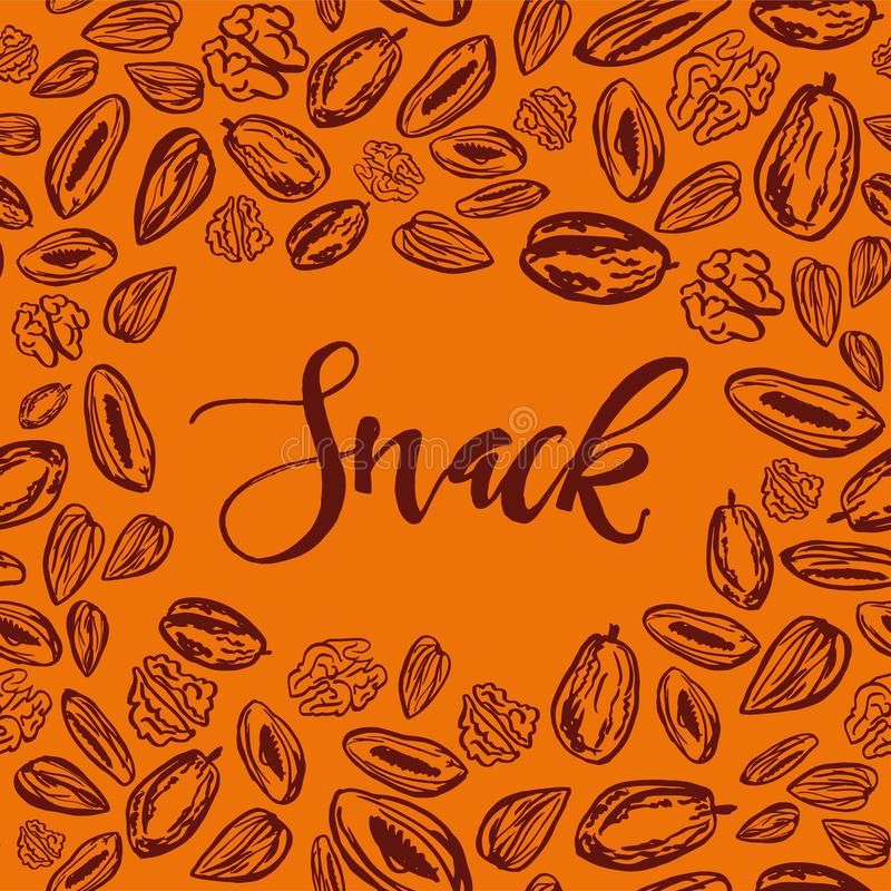 Seamless background with nuts and dried fruits. Vector illustration. royalty free illustration