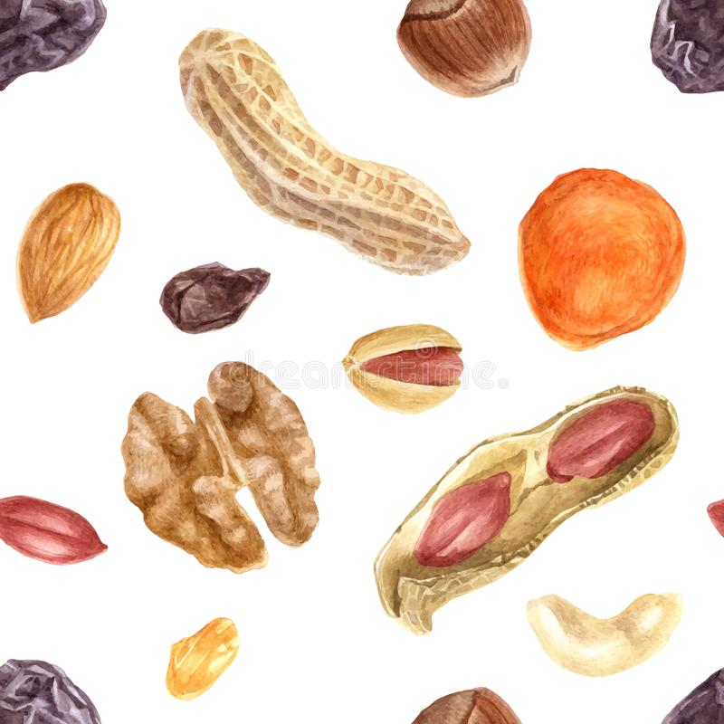Seamless pattern with nuts and dried fruits stock illustration