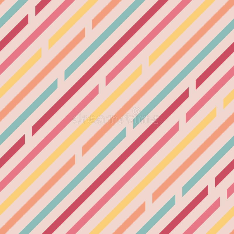 Seamless pattern. Oblique lines with spaces, diagonals. Different colors. Gentle colors. Light background vector illustration