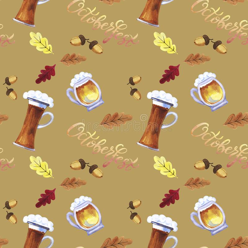 Seamless pattern Octoberfest hand drawn watercolor festival symbols. Full glass and mug of beer with foam, colorful oak leaves and acorn, pretzel, sausage on royalty free stock photography