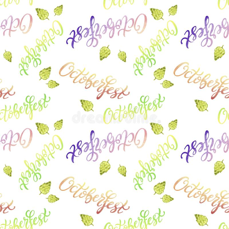 Seamless pattern Octoberfest handwritten watercolor lettering and green hop on white background. Oktoberfest typography design for wrapping, wallpaper, textile stock image