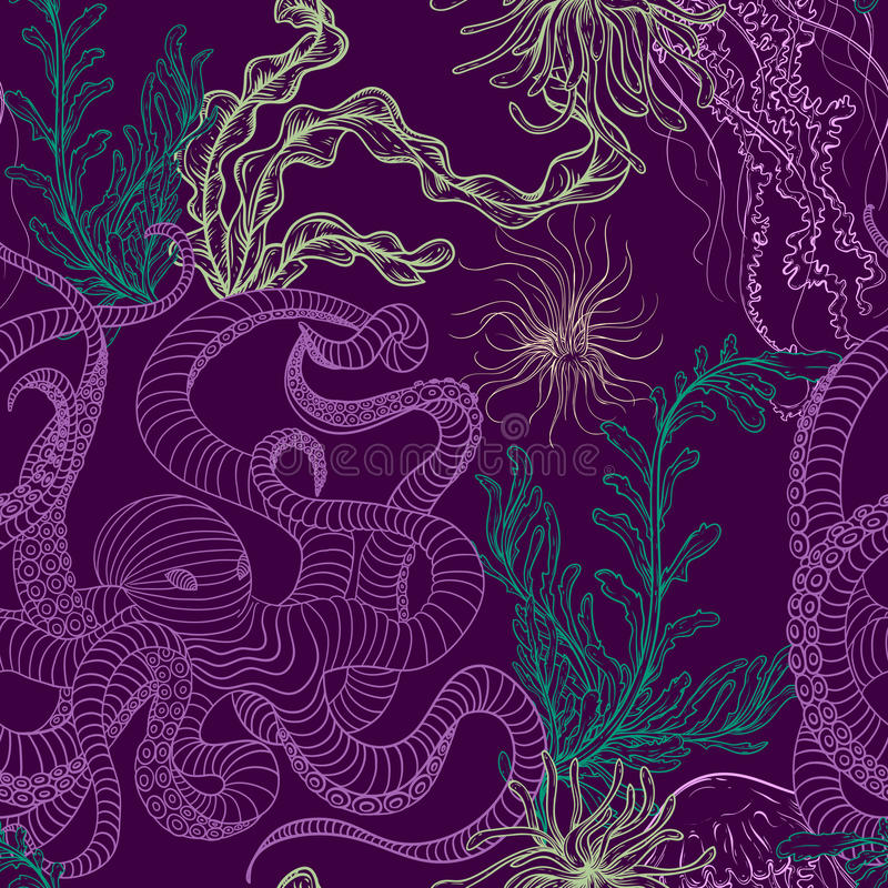 Seamless pattern with octopus, jellyfish, marine plants and seaweed. Vintage hand drawn vector illustration marine life vector illustration