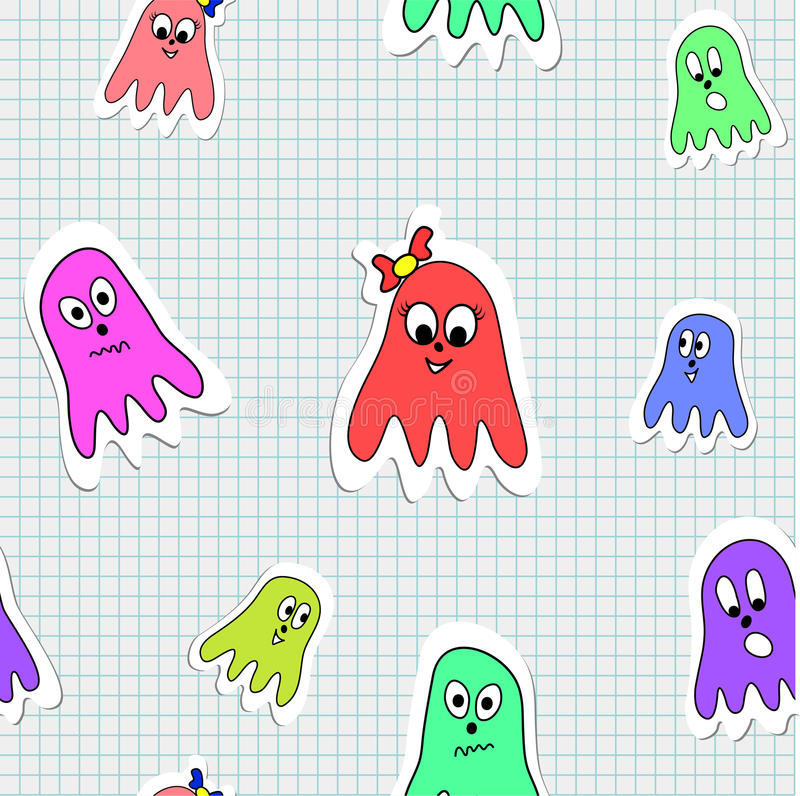Seamless Pattern Octopuses Stock Images