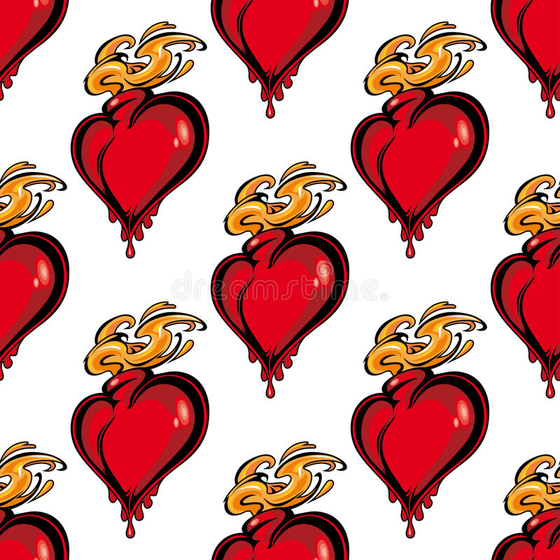 Free Seamless Pattern Of A Flaming Melting Heart Royalty Free Stock Photos - 46363938