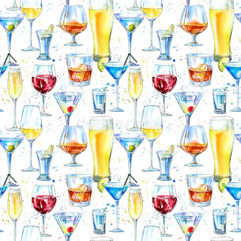 Free Seamless Pattern Of A Shampagne,martini,whiskey,vodka, Wine,liquor, Beer, Cognac And Cocktail. Stock Images - 110959454