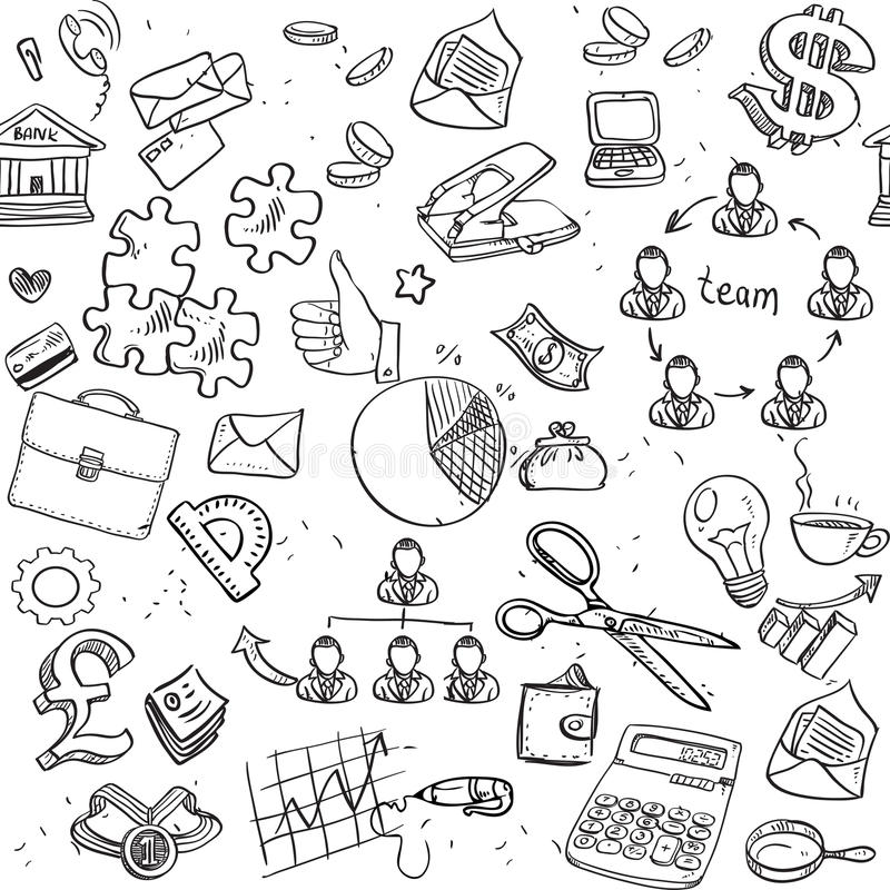 Free Seamless Pattern Of Black Doodles On Business Theme 2 Royalty Free Stock Image - 41925586