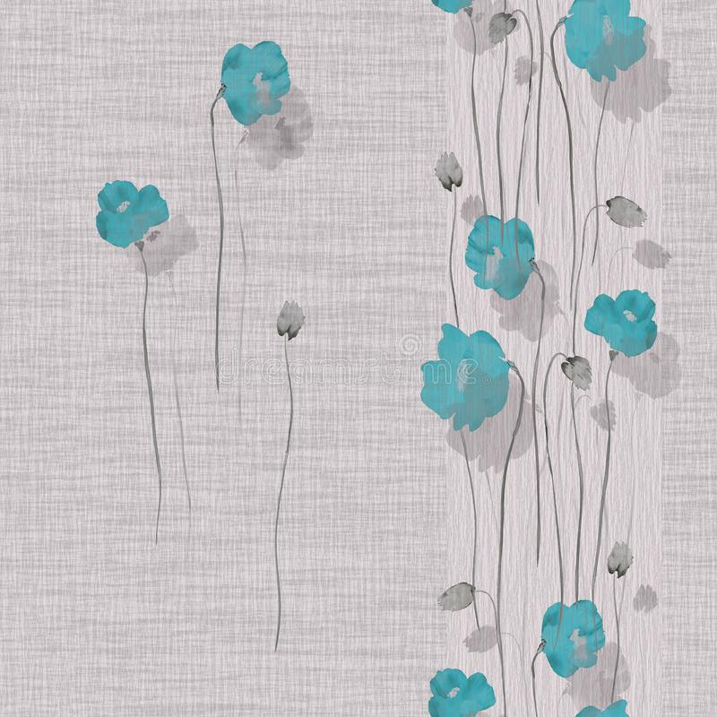 Free Seamless Pattern Of Blue Flowers Of Poppy On A Light Pink Background. Watercolor -2 Stock Image - 145871881
