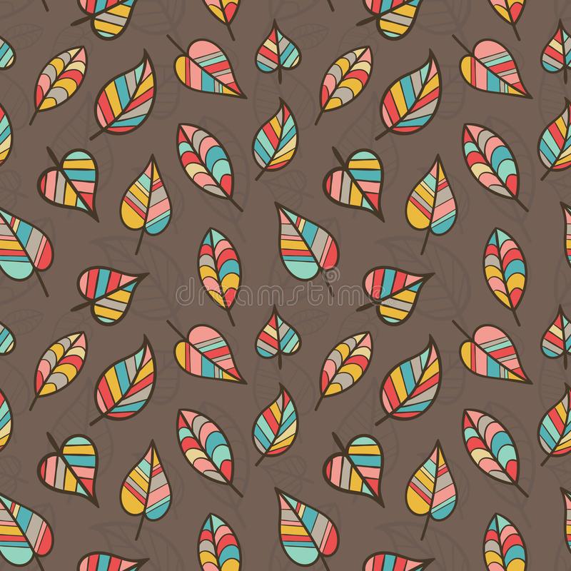 Free Seamless Pattern Of Colored Leaves On Brown Background. Royalty Free Stock Photo - 88327175
