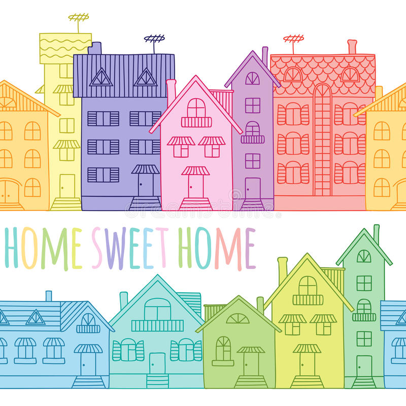 Free Seamless Pattern Of Coloured Houses Drawn By Hand. Stock Photography - 68257772