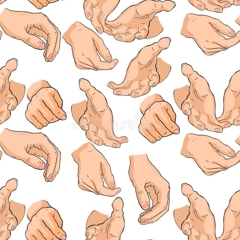 Free Seamless Pattern Of Men`s Hands Different Positions. Vector Illu Royalty Free Stock Images - 104781699