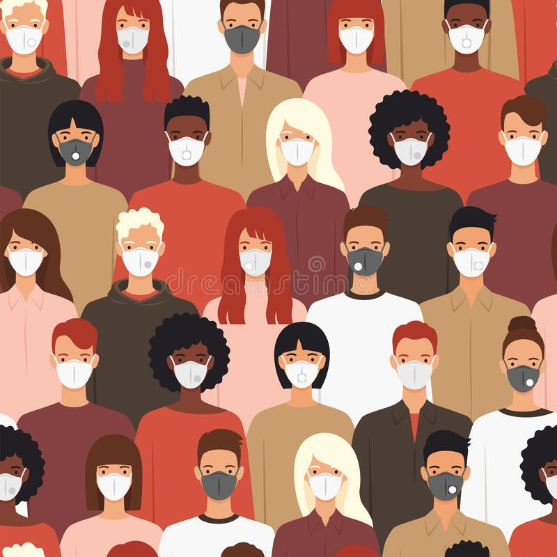 Free Seamless Pattern Of People Wearing Protective Medical Masks Stock Image - 183209211