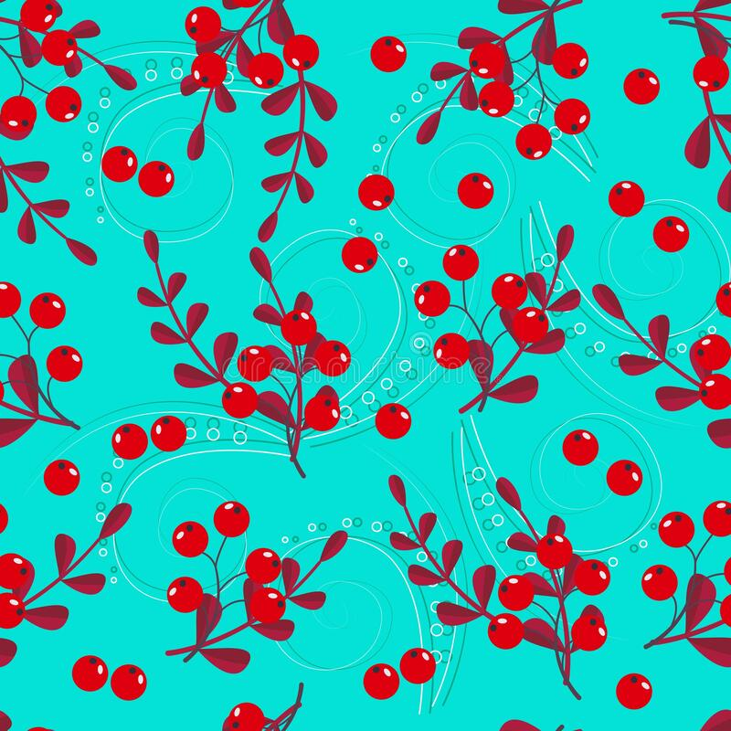 Free Seamless Pattern Of Red Berries With Green And Yellow Leaves On A Colored Background Royalty Free Stock Photos - 199165578