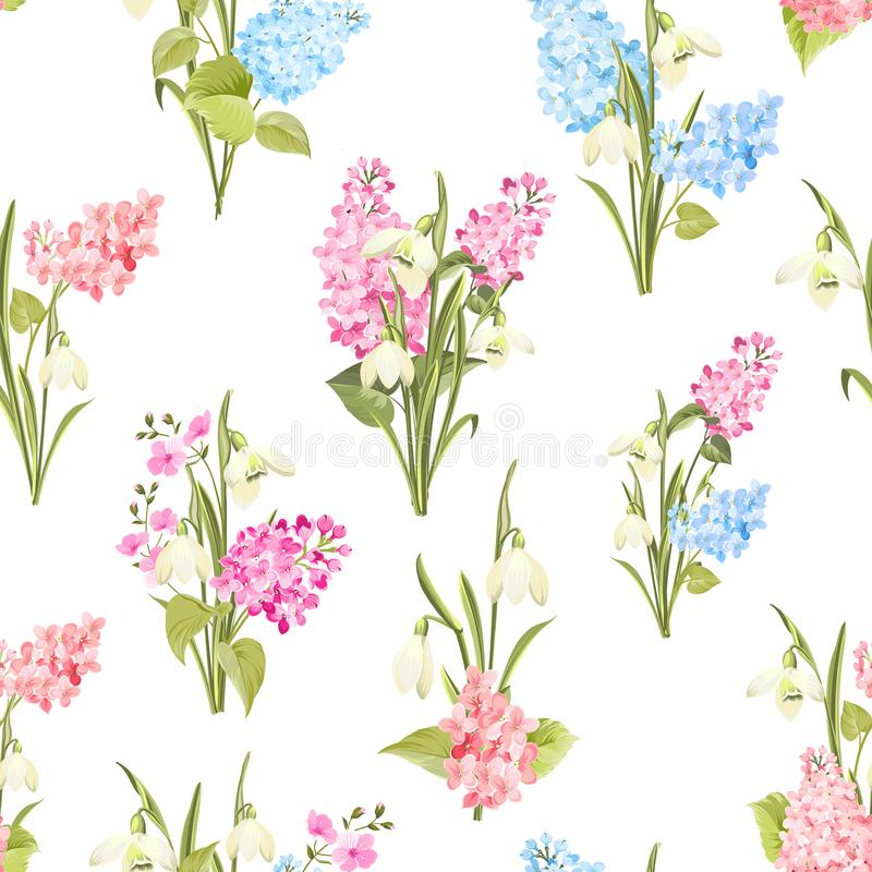 Free Seamless Pattern Of Siringa And Galantus Flowers For Fabric Pattern. Stock Images - 139957184
