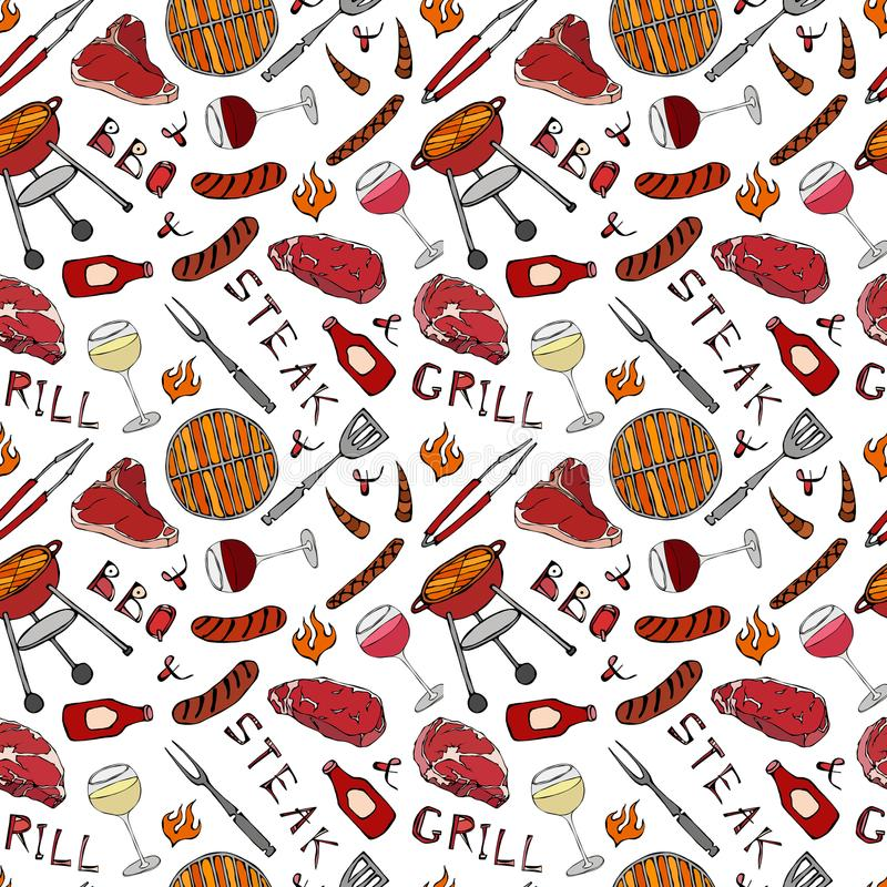 Free Seamless Pattern Of Summer BBQ Grill Party. Glass Of Red, Rose And White Vine, Steak, Sausage, Barbeque Grid, Tongs, Fork, Fire, K Stock Photography - 119104532
